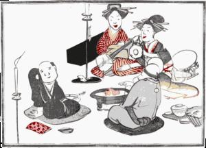 芸者と平安時代の日本の楽器